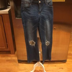 New L&B jeans with leopard patches on legs size8